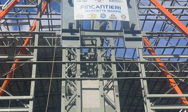 Finacantieri Marinette Marine holds their topping out ceremony for the tallest building in Marinette